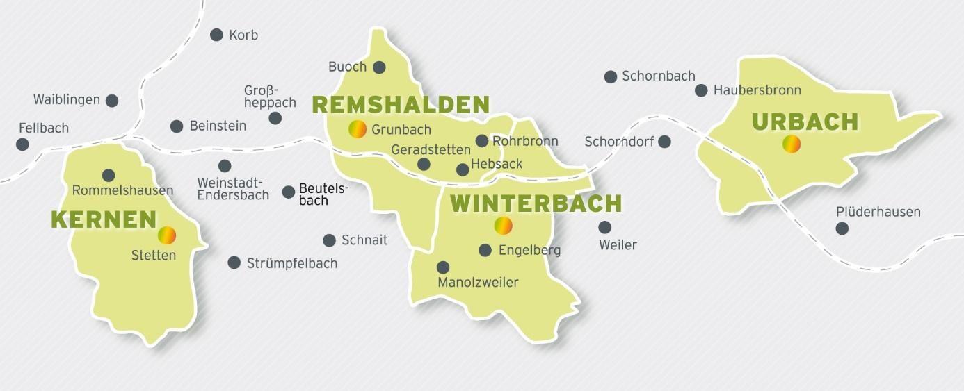 Übersichtskarte des Remstalwerk-Stromnetzgebiets